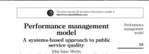 Performance management model: A systems-based approach to public service quality